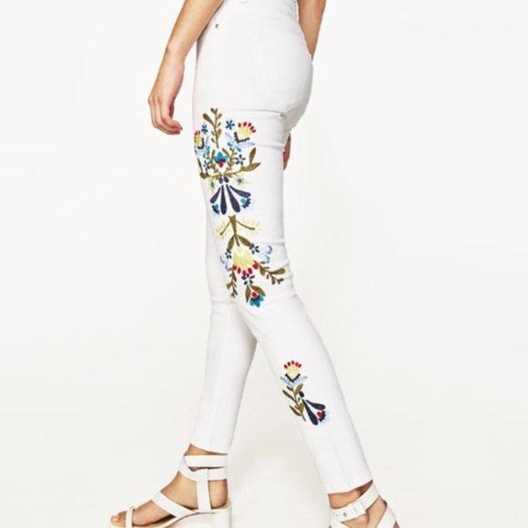 Zara White Embroidered Skinny Jeans - 8